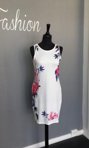 Ashley L069 Kjole med blomster Hvid
