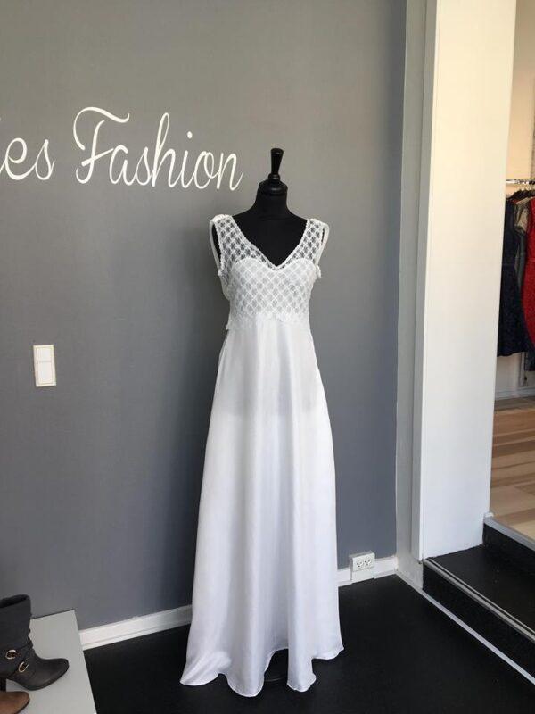 8741d726c0e3 Luna L143 Lang kjole Hvid - Ladies Fashion