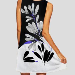 Ashley L202 Kjole Sort/Hvid med print