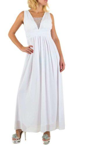 Emme & Ashley L5872 Lang kjole Hvid