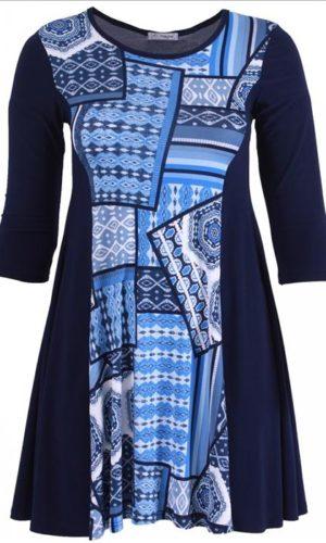 Plus Size Tunika Mørkeblå med print