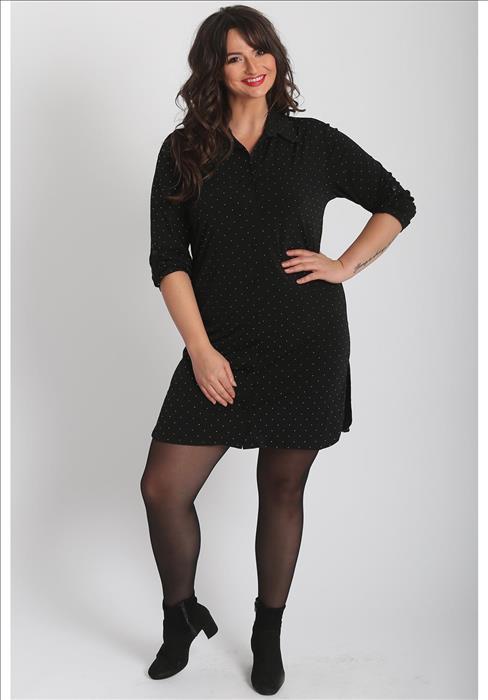d80ae062 Plus Size Sort Tunika med små prikker - Ladies Fashion
